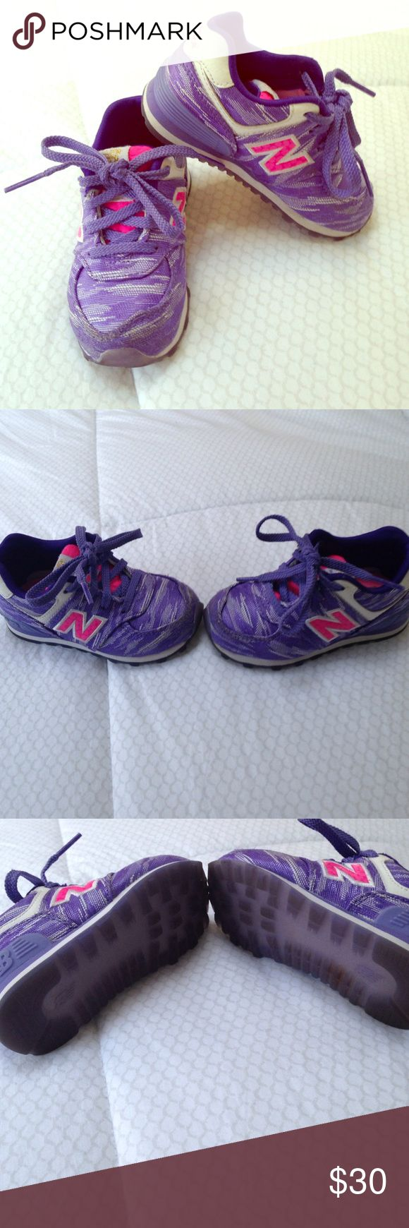 New Balance girl toddler sneakers size 6 These might be the cutest sneakers I ever bought my daughter! She out grew them so fast. I was bummed. Normal wear in front. Honestly they are practically brand new. These are pics without them being washed or cleaned yet! Adorable and durable sneakers!❤️ New Balance Shoes Sneakers