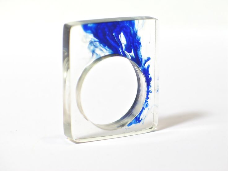 Resin ring. Deep blue. Wave. Modern jewelry. Cocktail ring. Chunky resin. resin jewelry. clear ring. $25.00, via Etsy.
