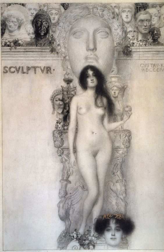 Gustav Klimt, 1862-1918, Austrian, Allegory Of Sculpture, 1896. Black pencil, graphite pencil, wash and gold, 41.8 x 31.3 cm. Kunsthistorisches Museum Wien, Vienna. Symbolism, Vienna Secession, Art Nouveau.