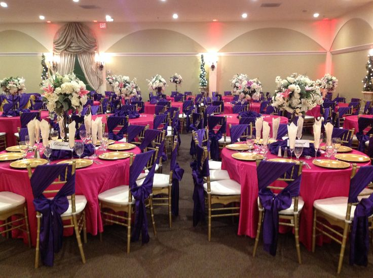 Quinceanera decor in Hot pink and purple ...