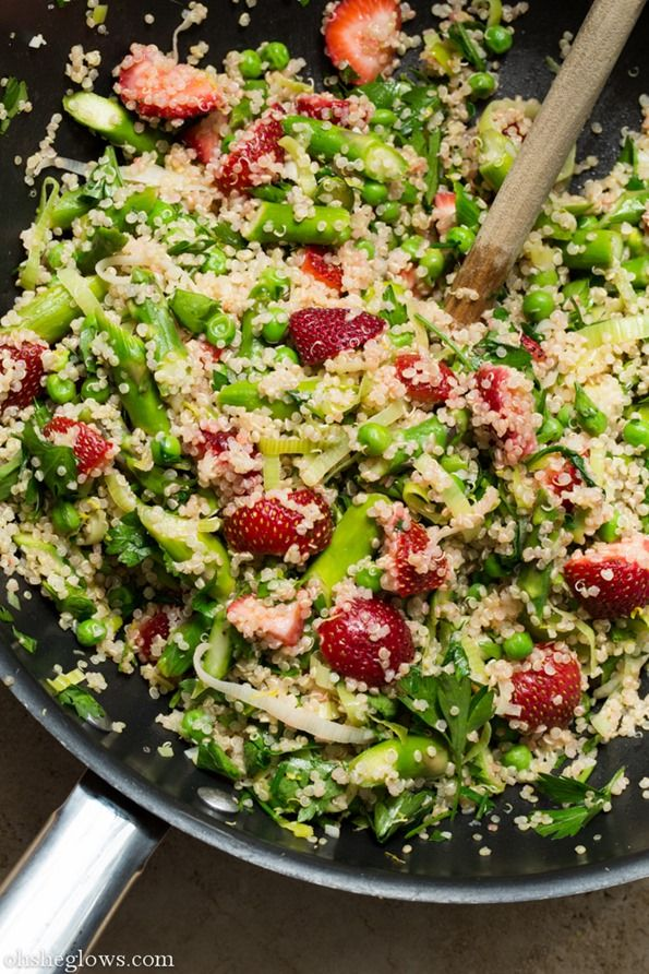 Warm Spring Salad with Quinoa, Garlic, Asparagus, Strawberries, and Peas
