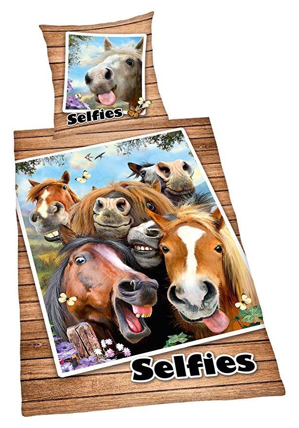 Herding Bettwasche Set Selfies Pferde Baumwolle Mehrfarbig 200