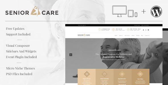 Senior is easy-to-use WordPress theme that allows you to tell your story, making it perfect for elderly care, senior living, assisted living, nursing home or health care websites. Packed with eve...