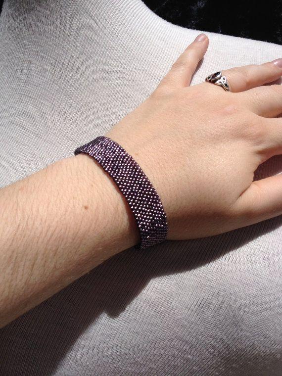 Lilac Brick Stitched Bracelet by ZarasZeal on Etsy