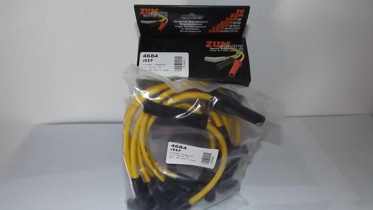 Juego de Cables para Bujías de Jeep Wranger, Cherrokee, Wagoneer- 6 CIL - Motor 242 -Full Inyección. Años 1991 a 1997 Marca Zum Eel Electric - 8 mm. País Fabricante Venezuela.