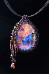 Dichroic Glass Cab by Cristine Grimm, Beading by Betty Stewart, ©blinkPHOTO