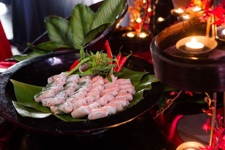 Vietnamese rice paper rolls with chilli & coriander dipping sauce