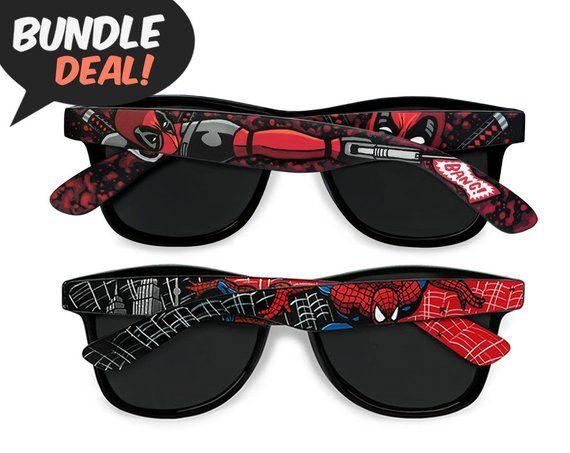 Deadpool and Spiderman sunglasses, BUNDLE deal, unique custom gift for him geek men women boyfriend gift superhero Wayfarer comic book nerd