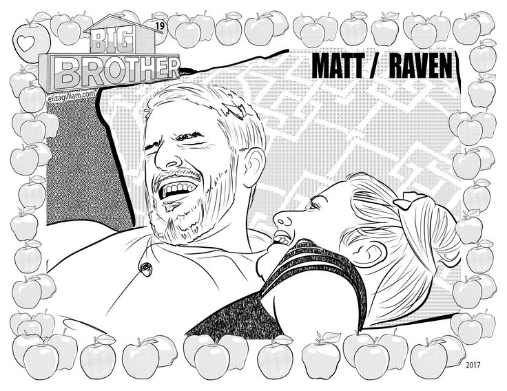 CBS Big Brother 19 house guest Matthew Clines and Raven Walton coloring page for fans