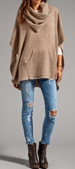 Women's fashion neutral poncho
