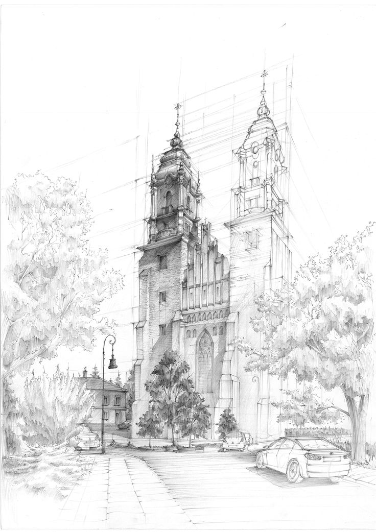 Poznan gothic cathedral plain air drawing. Author : Lena Maćków Pain air drawing with DOMIN Poznan drawing school. http://nauka-rysunku.pl/