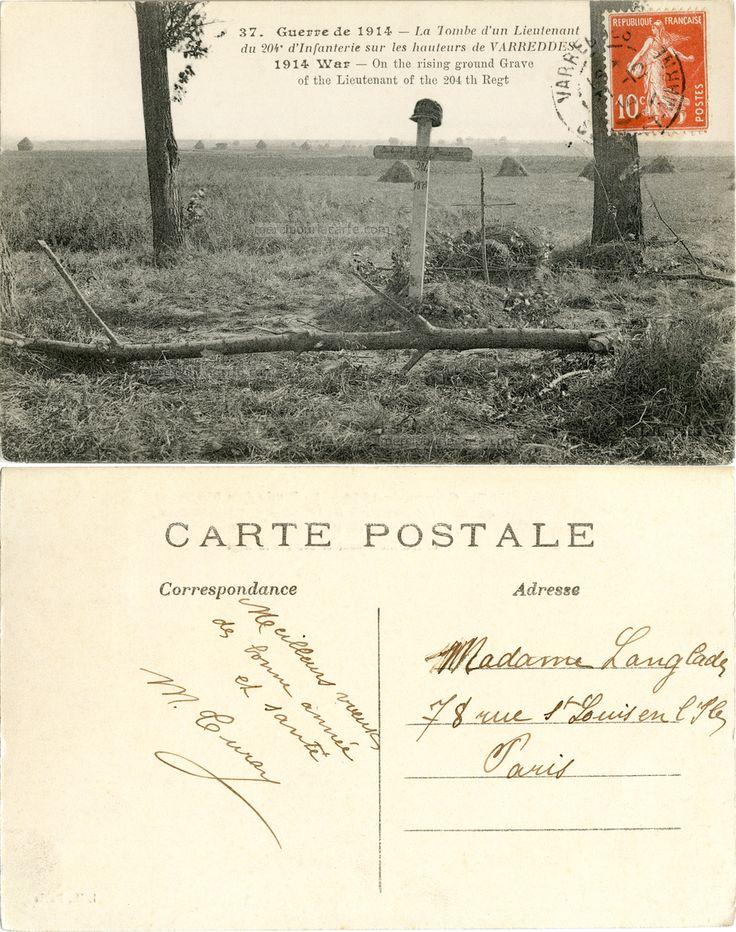 Guerre de 1914 - La Tombe d'un Lieutenant du 204e d'Infanterie sur les hauteurs de Varreddes - 1914 (from http://mercipourlacarte.com/picture?/1081/)