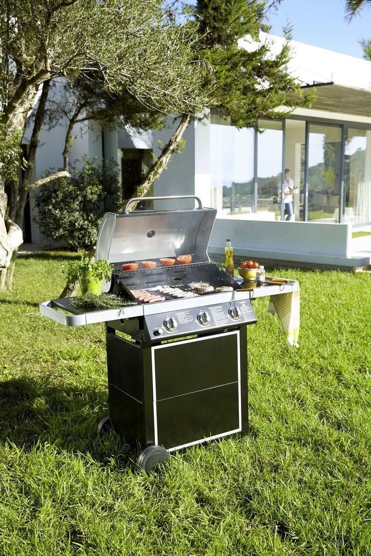 Barbecue / plancha à gaz avec chariot - Bruleurs en inox à réglage indépendant avec cuve en acier émaillé - Grille de cuisson chromé et plancha en fonte