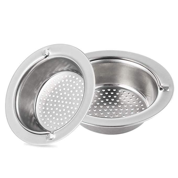 Kfym 2pcs Upgrade Kitchen Sink Drain Strainer With Handle Premium Stainless Steel Sink Drains Strainers Basket With Handle And Large Wide Rim 4 3 Diameter Fi Stainless Steel Sinks Sink Drain Kitchen