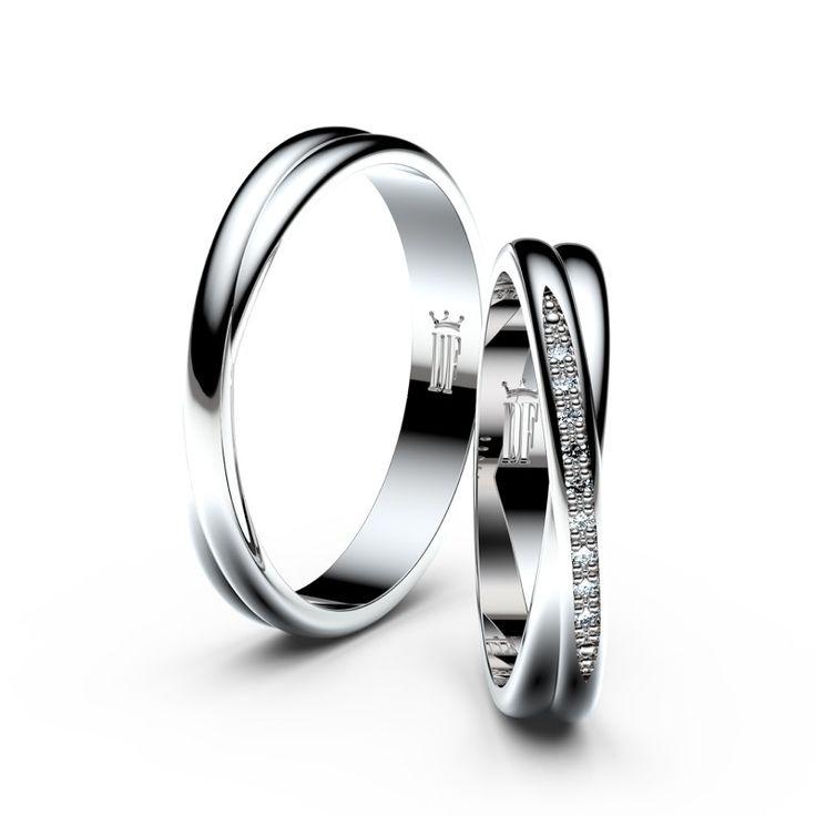 Snubní prsteny z bílého zlata s brilianty, pár - 3019