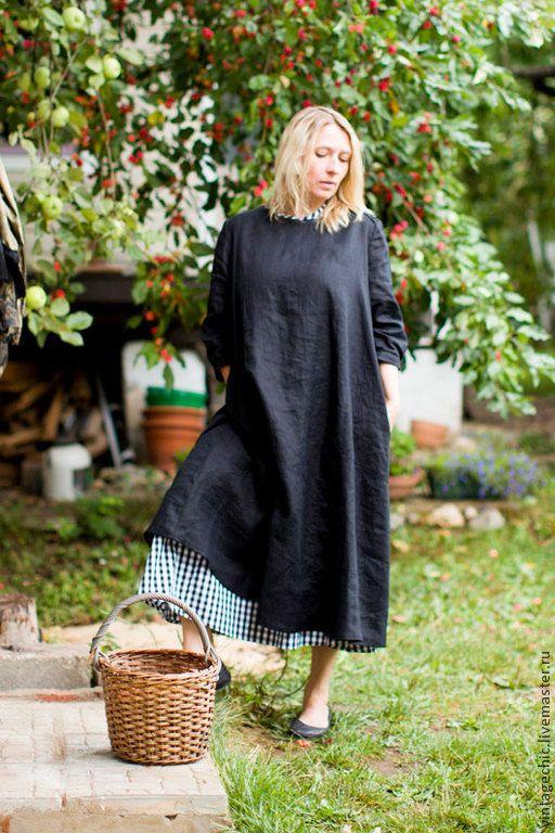 Купить Комплект платьев во французском стиле art.68b (черная клетка) - чёрный, платье