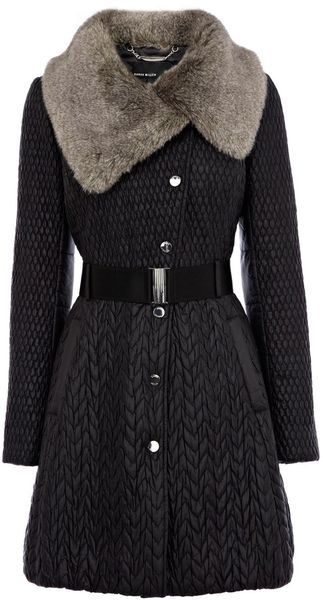 modern couture inspired by vintage fashions: Karen Millen England Mixed Quilted Coat - Lyst