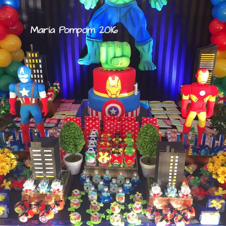 Awesome Avengers birthday party! See more party planning ideas at CatchMyParty.com!