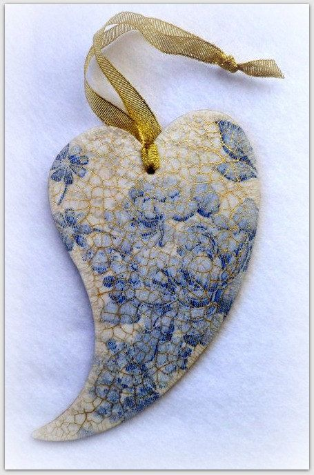 Wooden heart   decoupage heart  blue flowers  by CarmenHandCrafts, €9.00
