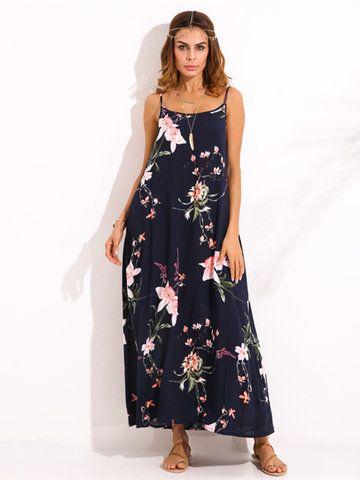 Gracila Bohemian Women Floral Printed Spaghetti Strap Long Maxi Dresses