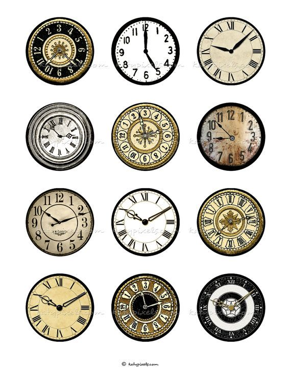 INSTANT DOWNLOAD - Clock Faces 2 inch Printable Circles Digital Collage Sheet