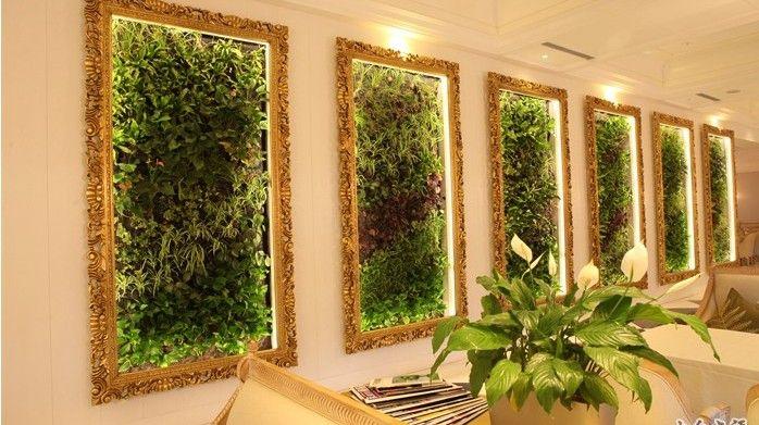 Cuadros verdes para decoracion de restaurantes jardines for Plantas artificiales para interiores