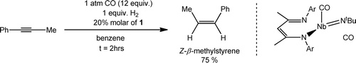 The mechanistic proposal involves initial reduction of the alkyne by the Nb(III) complex (BDI)Nb(NtBu)(CO)2 to provide a Nb(V) metallacyclopropene, itself capable of σ-bond metathesis reactivity with H2
