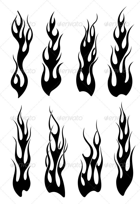 Set of Black Tribal Flames — JPG Image #sign #pattern • Available here → https://graphicriver.net/item/set-of-black-tribal-flames/3531708?ref=pxcr