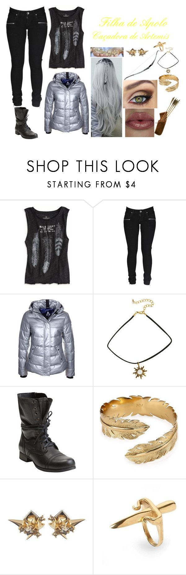 """""""Daughter of Apolo #31"""" by yasmim-maria ❤ liked on Polyvore featuring American Eagle Outfitters, Dr. Denim, Gaastra, Steve Madden, MAC Cosmetics, Melinda Maria, Alexis Bittar and LeiVanKash"""