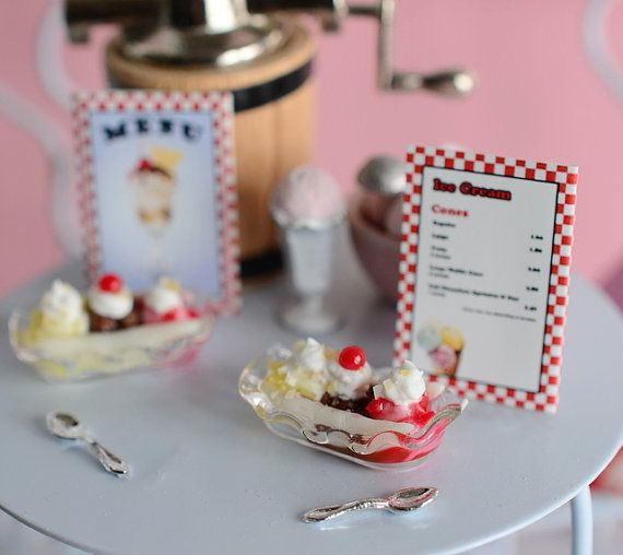 Miniature Banana Split Duo with Ice Cream Shop by CuteinMiniature