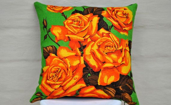 Eye popping roses to liven up any room! Orange and yellow roses on a kelly green background. Made with a vintage Irish linen tea towel, new