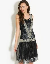 NOIR SEQUINS CHARLESTON tambour UK 8 10 12 14 Gatsby robe 20's art déco