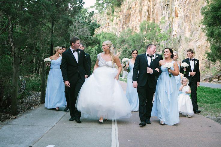 Kangaroo Point Cliffs wedding | Riverlife | Baby blue bridesmaid dresses | Anna Campbell dress