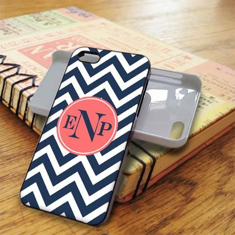 Blue Chevron Pink Monogram iPhone 5C Case