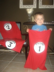 Cat in the Hat - Thing 1, Thing 2 Sack Race! Whats more fun than watching little ones hopping around?! Wish they had blue wigs!