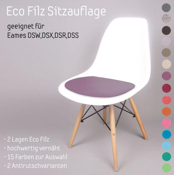 Filz Sitzauflage geeignet für Eames DSW Sidechair  von Noe Filzdesign auf DaWanda.com