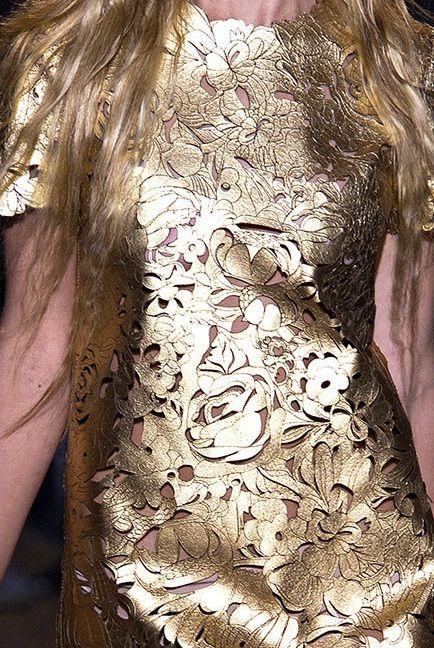 Gold laser cut leather dress - lasercut fashion; intricate floral pattern detail // Giles