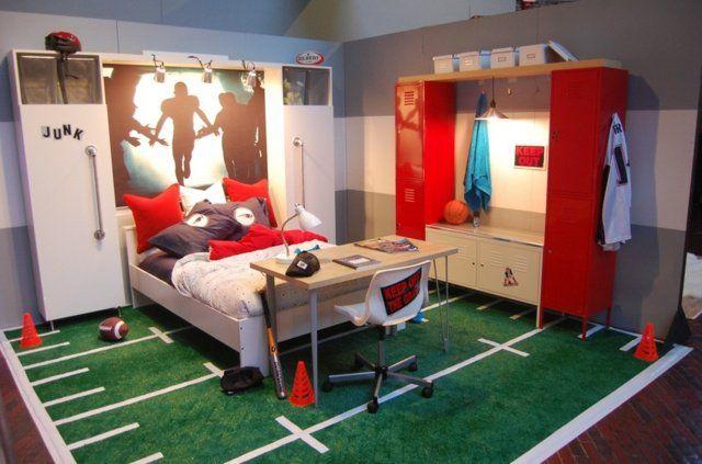 idée d'aménagement de chambre à thème sport pour garçon ado