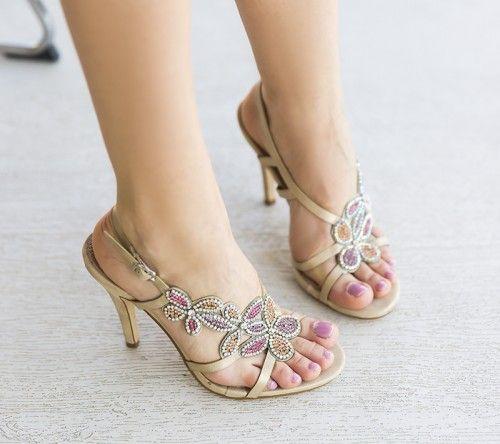 Sandale Nuevo Aurii -  Colectia Sandale cu toc de la  www.cutoc.net