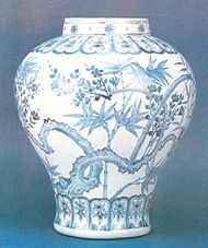 Korean pottery and porcelain - Wikipedia, the free encyclopedia 15th century. Joseon dynasty, Korea. Blue and white porcelain jar with plum and bamboo design.
