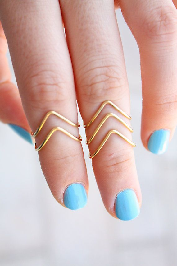 set of 5 Chevron Knuckle Rings - Above The Knuckle Rings - Adjustable Rings - Mid Knuckle Rings - Gold or Silver Knuckle Rings