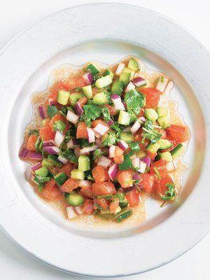 asian salad (ELLE a table) cucumber, tomato, red onion, coriander, salt, lemon juice, cayenne powder, cumin powder, extra virgin olive oil