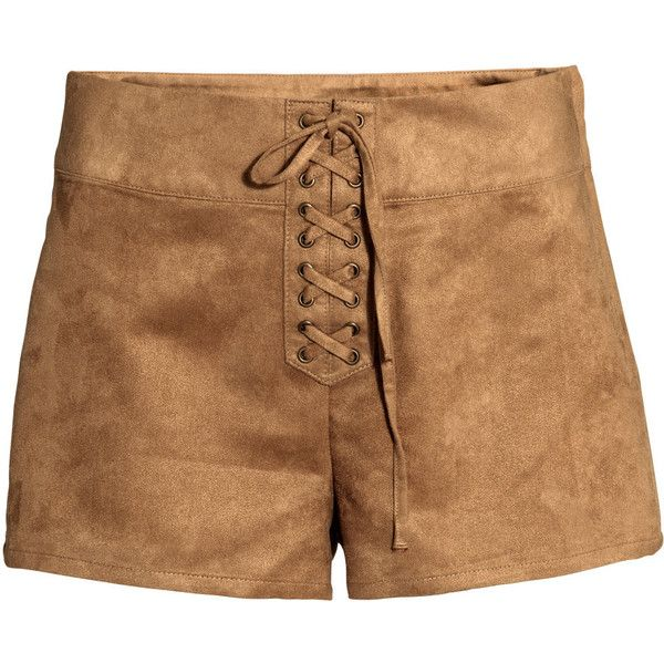 H&M Shorts High waist featuring polyvore, fashion, clothing, shorts, beige, beige shorts, high-waisted shorts, h&m, laced shorts and embellished shorts