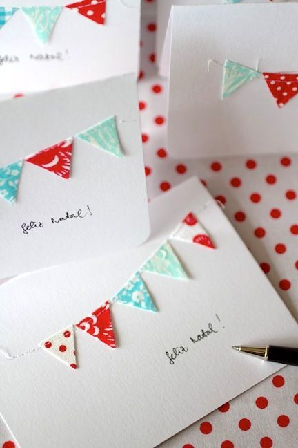 How totally sweet it would be to have little cloth flags on a card!