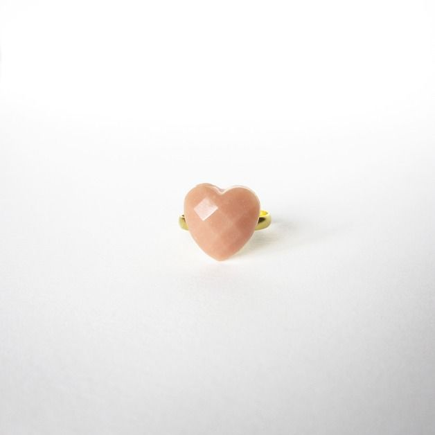 Great gift for sister. Rings – Tiny PINK Powder HEART resin RING – a unique product by REDbold via en.DaWanda.com