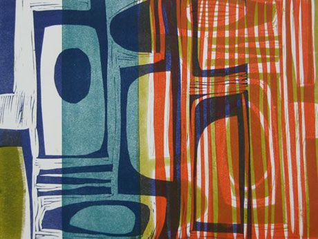 Overlapping 2 a linocut by Liz Clark I could definitely find wall space for.
