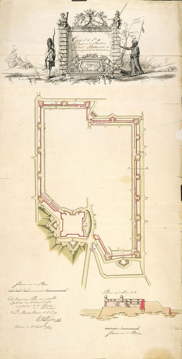 Copy dating from 1764 based on the situation in 1762 Map and elevations of the castle at Batavia