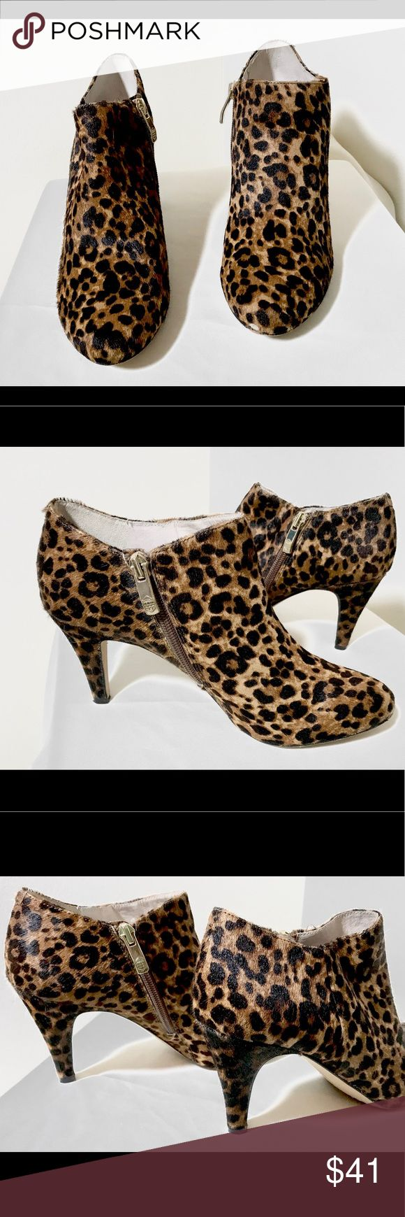 Vince Camuto Vive Leopard Print Pony Hair boot 7.5 Vince Camuto Vive Leopard Print Pony Hair Size 7.5 Ankle Bootie with gold side zipper Two by Vince Camuto Shoes Ankle Boots & Booties