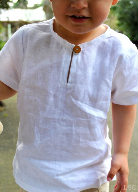 Boys+linen+shirt++Size+6+++white+linen+tunic+by+littlestarclothing,+$52.95