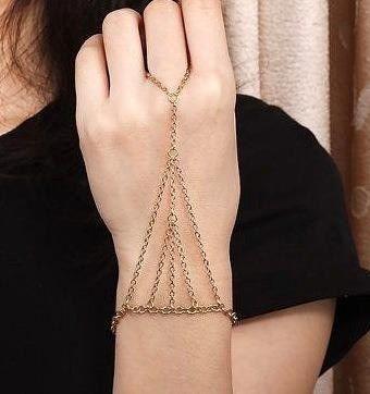 anel pulseira hand chain piramide slave bracelet indiano